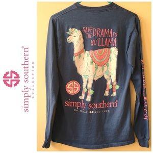 SIMPLY SOUTHERN Save the Drama Fo Yo Llama L/S Tee